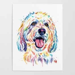 Goldendoodle, Golden Doodle - Dog Portrait Watercolor Painting Poster