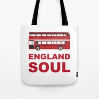 england Tote Bags featuring England Soul by Tony Vazquez