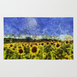 Summer Sunflowers Van Gogh Rug