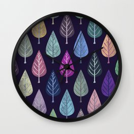 Watercolor Forest Pattern IV Wall Clock