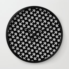 Dumbbellicious inverted / Black and white dumbbell pattern Wall Clock