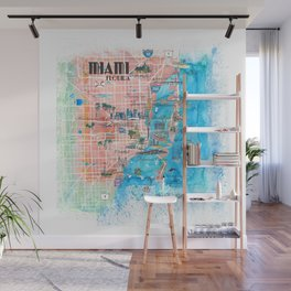 Miami Florida Illustrated Map with Main Roads Landmarks and Highlights Wall Mural
