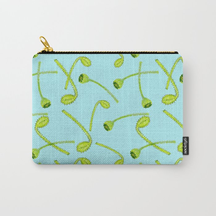 Green poppy flower buds on light blue background Carry-All Pouch