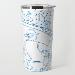 Fly Fisherman Trout Fishing Drawing Travel Mug