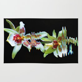 Green flowered Cymbidium Rug