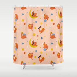 Collection of women holding planet with dream universe. Shower Curtain