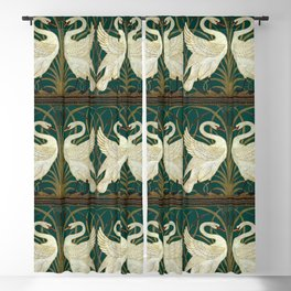 Walter Crane's Swan, Rush, Iris Blackout Curtain