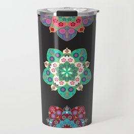 Boho Floral Mandalas on Black Travel Mug