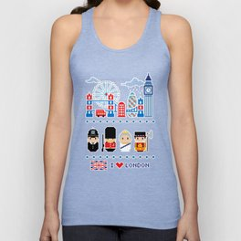 I love London - London Icons - Pixel Art Unisex Tank Top