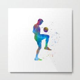 Soccer player in watercolor Metal Print