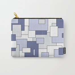 Squares -  gray, blue and white. Carry-All Pouch