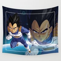 akira Wall Tapestries featuring Vegeta by Neo Crystal Tokyo