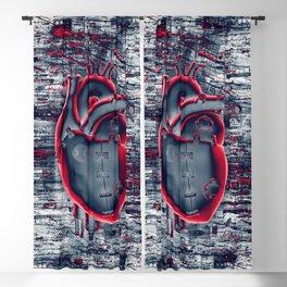 Gamer Heart BLUE CRIMSON / 3D render of mechanical heart Blackout Curtain