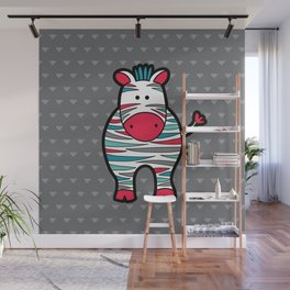 Doodle Zebra on Grey Triangle Background Wall Mural