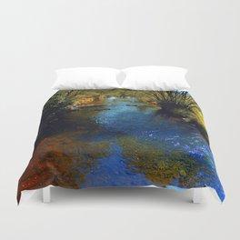 Vibrant river in autumn season Duvet Cover