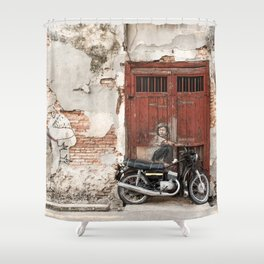 Irrational Fears - Dinosaur Chasing Boy On Motorcycle Shower Curtain