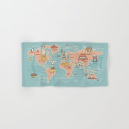 World Map Cartoon Style Hand & Bath Towel