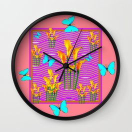 Pink Coral-Purple Blue Butterfly Lily Art Wall Clock