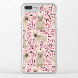 French Bulldog fawn coat cherry blossom florals dog pattern floral dog breeds Clear iPhone Case