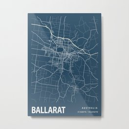 Ballarat Blueprint Street Map, Ballarat Colour Map Prints Metal Print