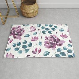 Trendy Leaf and Flowers Purple Seamless Pattern Rug