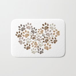Made of heart doodle brown paw print Bath Mat