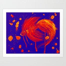 Vibran Red Splatter Betta Art Print