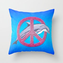 Dolphin And Pink Peace Sign Throw Pillow