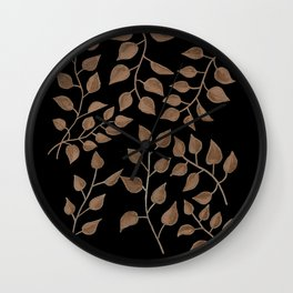Gold Branches on Black Wall Clock