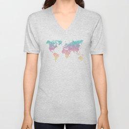 World Map Pastel Unisex V-Neck