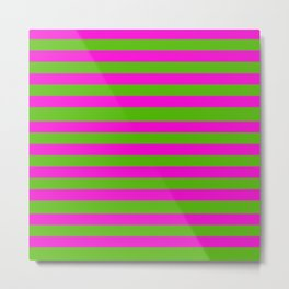 Hot Pink And Kelly Green Stripes Metal Print