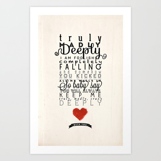 One Direction: Truly Madly Deeply Art Print