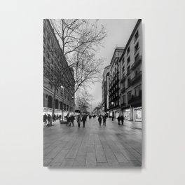 Barcelona Streets BW Metal Print