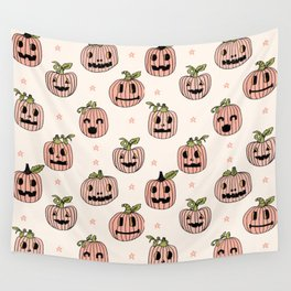 Pumpkin halloween jack-o'-lantern fall autumn carving cute pattern Wall Tapestry