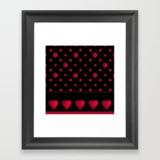 Red polka dots and hearts on a black background . Framed Art Print
