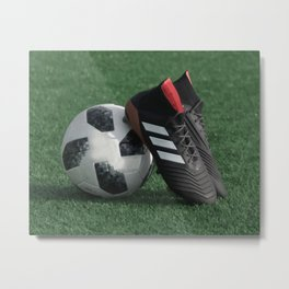 Football with soccer shoes #sports #society6 Metal Print