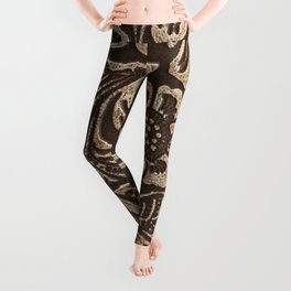 Gold & Brown Flowered Tooled Leather Leggings