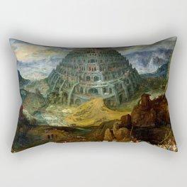 "Jan Brueghel the Elder ""The Tower of Babel"" Rectangular Pillow"