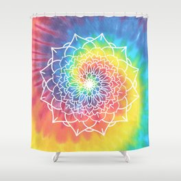 RAINBOW TIE DYE MANDALA Shower Curtain
