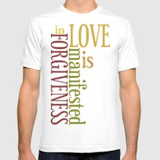 Love is Forgiveness 2 MEDIUM White Mens Fitted Tee