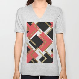 Chic Coral Pink Black and Gold Square Geometric Unisex V-Neck