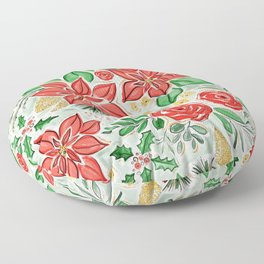Lively Christmas Watercolor Floral Floor Pillow