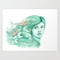 ships Art Prints featuring Paper ships by Pendientera