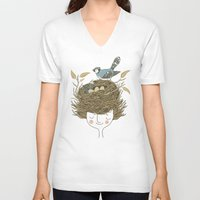 hair V-neck T-shirts featuring Bird Hair Day by Monica Gifford