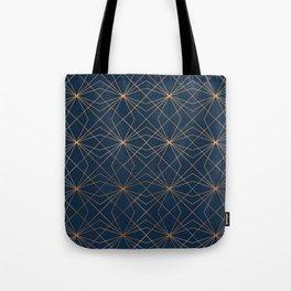 Navy & Copper Geo Lines Tote Bag