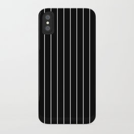 Classic White Baseball Stripe Lines On Black iPhone Case