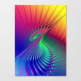 Outburst Spiral Fractal neon colored Canvas Print