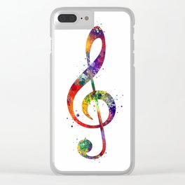 Treble Clef Sign 2 Watercolor Print Music Poster Home Decor Clear iPhone Case