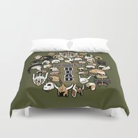 fandom Duvet Covers featuring Helmets of fandom - respect the head! by CaptainLaserBeam
