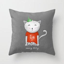 Saucy Kitty Throw Pillow